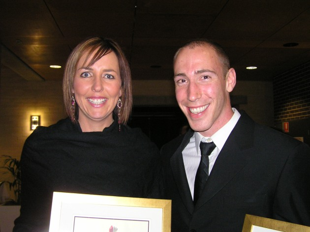 Posing with fellow Alumni Award winner Liz Ellis (former captain of Australian Netball team)