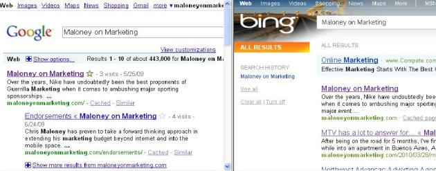 Google Vs. Bing Round 2