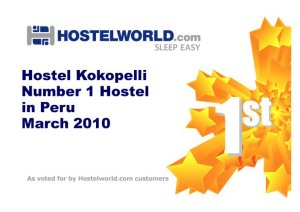 Hostel World - Kokopelli named number 1 hostel in Peru March 2010