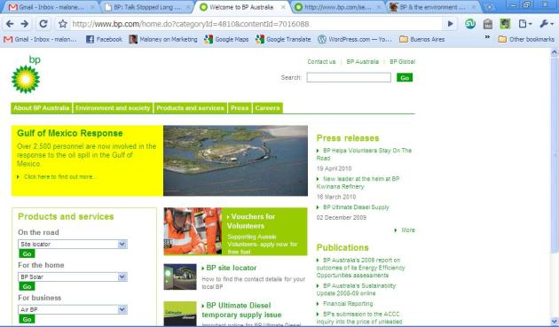 BP Australia Home Page - Gulf of Mexico Response