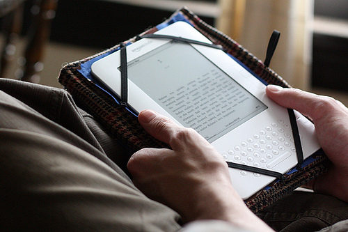 Reading a book on the Amazon Kindle
