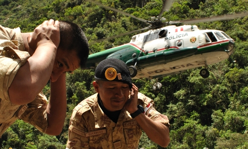 Departure: The evacuation of Aguas Calientes by the Peruvian Military 2010. Copright Guy Grisby 2010