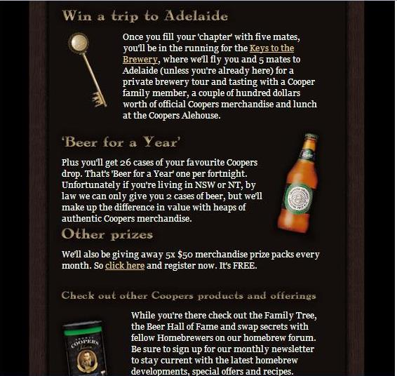 The Order of Coopers - Win Beer for a Year Prize Details
