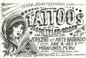 Flyer for Jason Tyler Grace in Miraflores, Lima. Peru