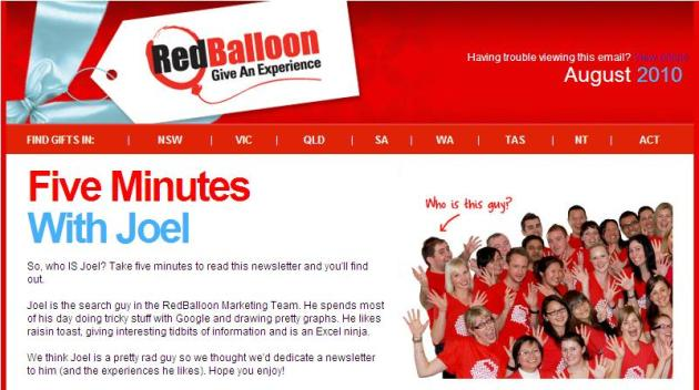 RedBalloon - 5 Minutes with Joel