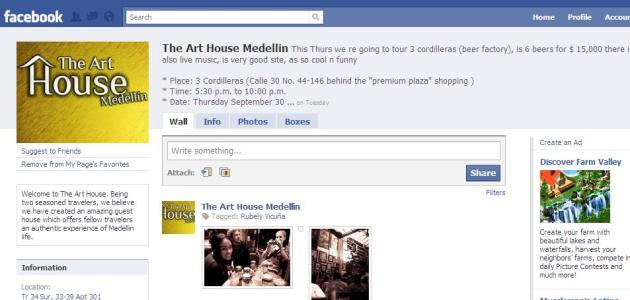 The Art House Medellin Facebook Page