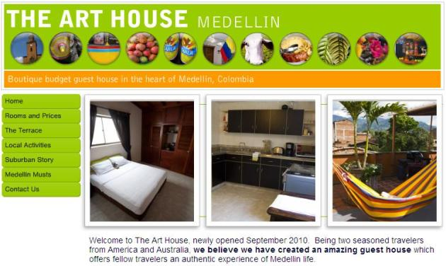The Art House Medellin Website