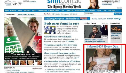 Spam on the SMH Homepage
