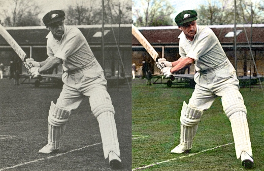 Donald Bradman Colourised Photo