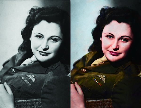 Nancy Wake Colourised Photo