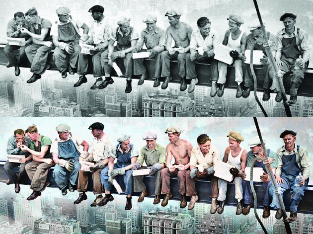 Sydney Harbour Bridge Construction Workers Photo Colourised