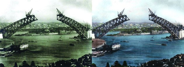 Sydney Harbour Bridge Construction Photo Colourised